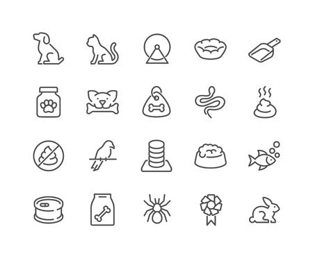 Line Pet Icons Illusztráció