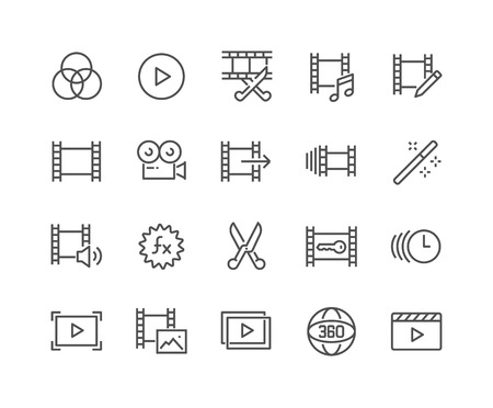 Line Video Editing Icons