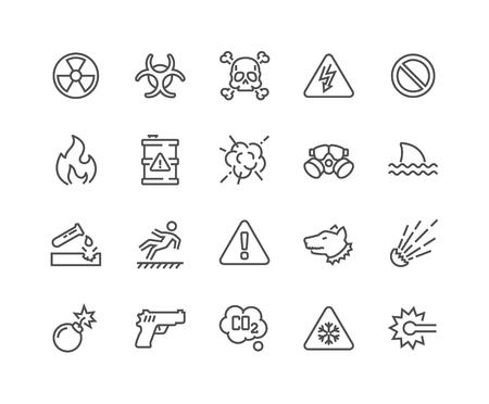 Line Warnings Icons Illustration