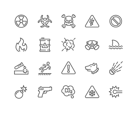 Line Warnings Icons Illustration
