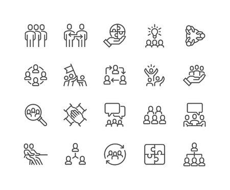 Iconos de trabajo en equipo de línea Foto de archivo - 104230071