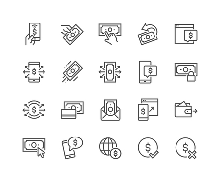 Line Payment Icons Vettoriali
