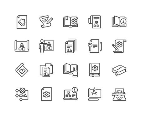 Line Technical Documentation Icons Illustration