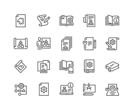 Line Technical Documentation Icons Illustration