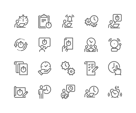 Line Time Management Icons Фото со стока - 104230075