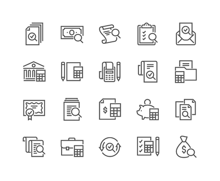 Ikony rachunkowości liniowej Ilustracje wektorowe