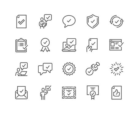 Lijn goedkeuren pictogrammen