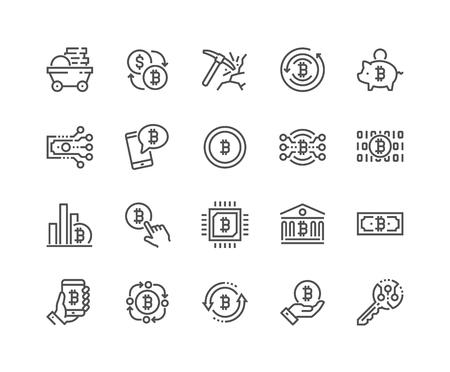 Line Bitcoin Icons Illustration