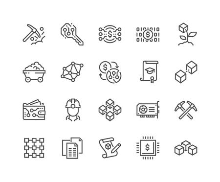 Line Blockchain Icons Stock Illustratie