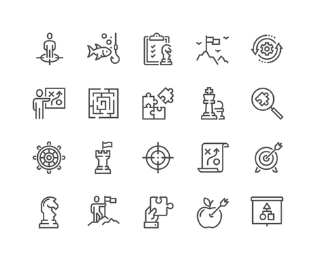 Line Business Strategy Icons Vectores