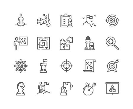 Lijn bedrijfsstrategie pictogrammen