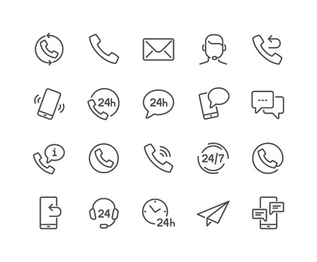 Line Contact Icons Illustration
