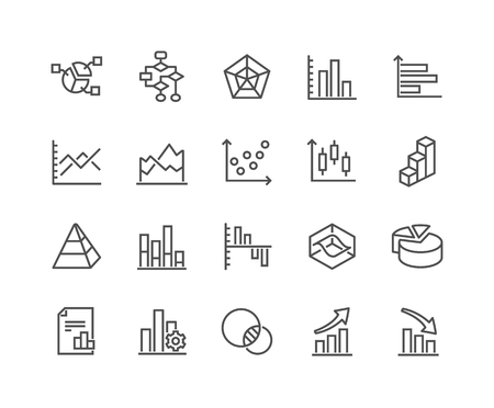 Line Charts and Diagrams Icons Illustration