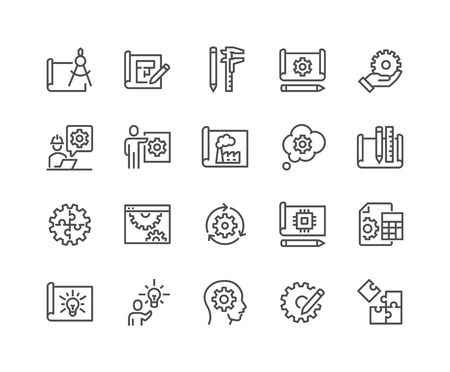 Line Engineering Design Icons Ilustracja