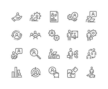 Iconos de gestión empresarial de línea