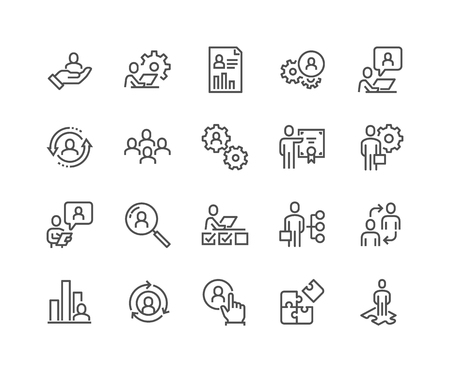 Line Business Management Icons Banque d'images - 104416162