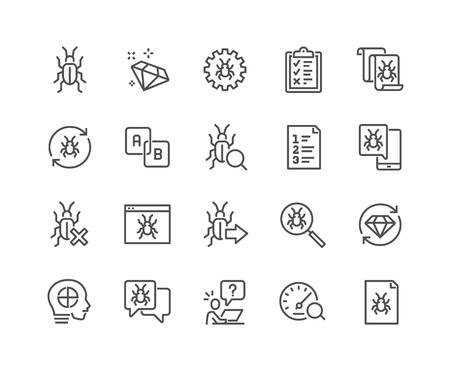 Line Quality Assurance Icons Stock Illustratie