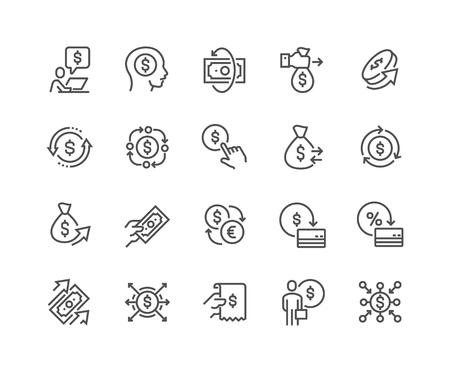 Iconos de movimiento de dinero de línea Ilustración de vector