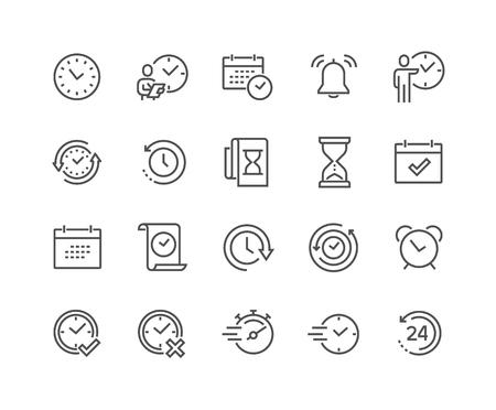Lijn tijd pictogrammen
