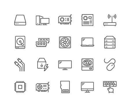 Einfacher Satz von Computerkomponenten im Zusammenhang mit Vektorliniensymbolen. Enthält Symbole wie CPU, RAM, Netzteil, Kabel und mehr. Bearbeitbarer Strich. 48x48 Pixel perfekt.
