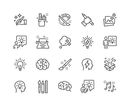 Conjunto simple de iconos de líneas vectoriales relacionadas con la creatividad. Contiene iconos como inspiración, idea, cerebro y más. Trazo editable. 48x48 píxeles perfectos. Ilustración de vector