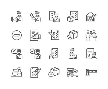 Prosty zestaw ikon linii wektor związanych z odprawą celną. Zawiera takie ikony, jak deklaracja, kontrola paszportu, pieczęć zatwierdzenia i inne. Obrys edytowalny. 48x48 pikseli idealny.