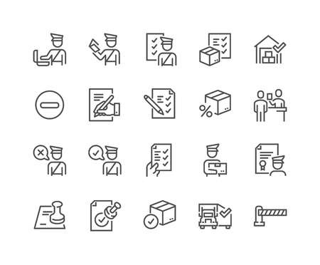 Simple Set of Customs Related Vector Line Icons. Contains such Icons as Declaration, Passport Control, Approve Stamp and more. Editable Stroke. 48x48 Pixel Perfect. 版權商用圖片 - 126090364