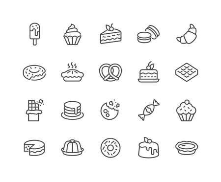 Simple Set of Dessert Related Vector Line Icons. Contains such Icons as Macarons, Bagel, Sweet Waffle and more. Editable Stroke. 48x48 Pixel Perfect. Illustration