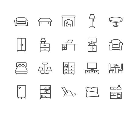 Semplice set di icone di linea del vettore relative ai mobili. Contiene icone come divano, tavolo, lampada da terra e altro ancora. Tratto modificabile. 48x48 pixel perfetti. Vettoriali