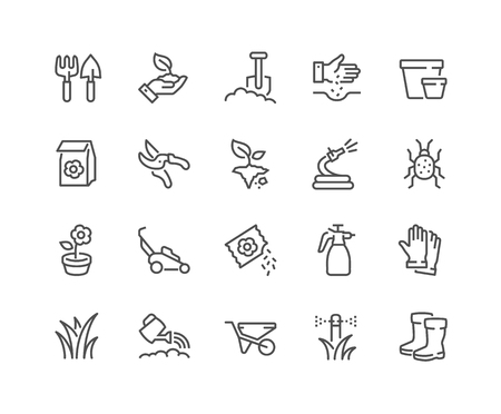 Simple Set of Gardening Related Vector Line Icons. Contains such Icons as Auto Watering, Seeding, Garden Tools and more. Editable Stroke. 48x48 Pixel Perfect. Illustration