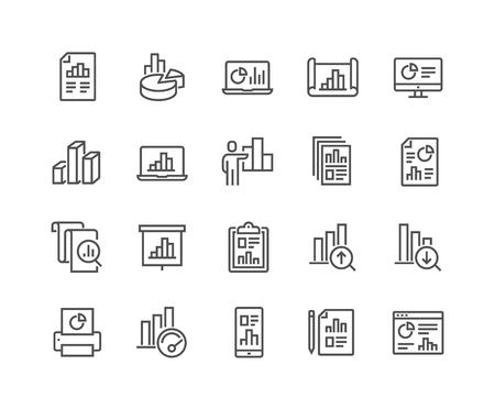 Ensemble simple d'icônes de lignes vectorielles liées au graphique. Contient des icônes telles que le rapport, la présentation du graphique abstrait, l'augmentation - la diminution du graphique et plus encore. Course modifiable. 48x48 pixels parfait.