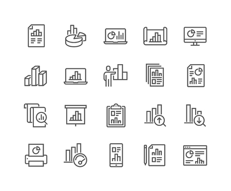 Simple Set of Graph Related Vector Line Icons. Contains such Icons as Report, Abstract Chart Presentation, Increase - Decrease Graph and more. Editable Stroke. 48x48 Pixel Perfect. Фото со стока - 126090368