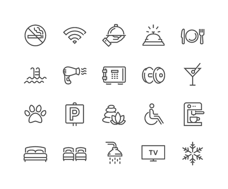 Line Hotel Icons Illustration