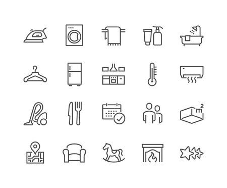 Line Hotel Icons Illustration