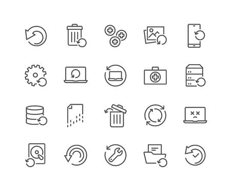 Einfacher Satz von Wiederherstellungs-bezogenen Vektorliniensymbolen. Enthält Symbole wie Daten wiederherstellen, Backup, Medikit und mehr. Bearbeitbarer Strich. 48x48 Pixel perfekt.
