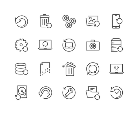 Simple Set of Recovery Related Vector Line Icons. Contains such Icons as Restore Data, Backup, Medikit and more. Editable Stroke. 48x48 Pixel Perfect. Foto de archivo - 126090370