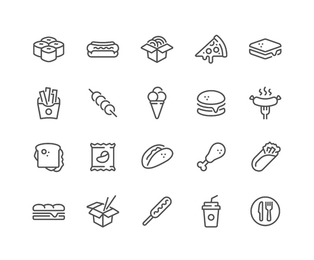 Simple Set of Fast Food Related Vector Line Icons. Contains such Icons as Pizza, Tacos, Chips and more. Editable Stroke. 48x48 Pixel Perfect.