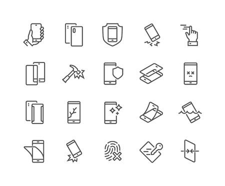 Conjunto simple de iconos de línea de vectores relacionados con la protección de teléfonos inteligentes. Contiene íconos como protector de pantalla, toque delicado, vidrio templado y más. Trazo editable. 48x48 píxeles perfectos. Ilustración de vector