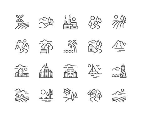 Einfacher Satz von landschaftsbezogenen Vektorliniensymbolen. Enthält Symbole wie Farm, Megapolis, Desert und mehr. Bearbeitbarer Strich. 48x48 Pixel perfekt.