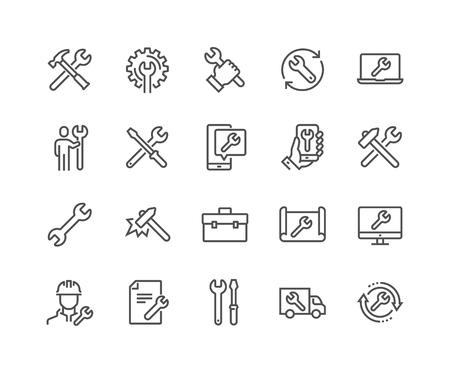 Einfacher Satz von reparaturbezogenen Vektorliniensymbolen. Enthält Symbole wie Schraubendreher, Ingenieur, technischer Support und mehr. Bearbeitbarer Strich. 48x48 Pixel perfekt.