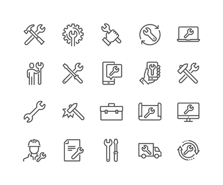 Simple Set of Repair Related Vector Line Icons. Contains such Icons as Screwdriver, Engineer, Tech Support and more. Editable Stroke. 48x48 Pixel Perfect. Standard-Bild - 126090374
