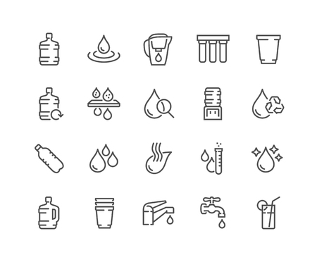 Simple Set of Water Related Vector Line Icons. Contains such Icons as Filter, Moister, Water Tap and more. Editable Stroke. 48x48 Pixel Perfect. Illustration