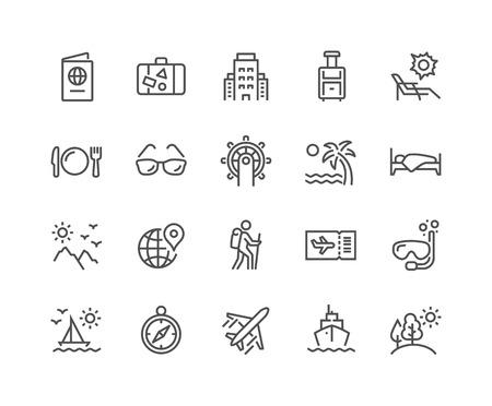 Iconos de viaje de línea Ilustración de vector