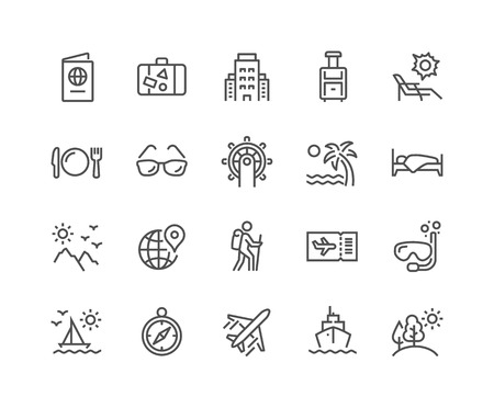 Line Travel Icons 스톡 콘텐츠 - 118849368