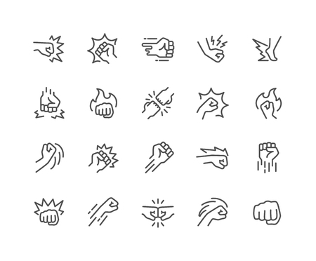 Simple Set of Fight Related Vector Line Icons. Contains such Icons as Fist Bump, Hit, Strike and more. Editable Stroke. 48x48 Pixel Perfect.