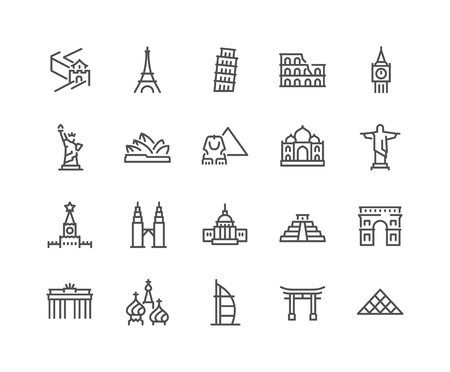 Line Landmarks Icons Banque d'images - 118849369