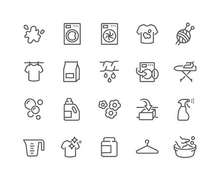 Conjunto simple de iconos de línea de vectores relacionados con la lavandería. Contiene iconos como lavadora, secadora, camiseta de suciedad y más. Trazo editable. 48x48 píxeles perfectos.
