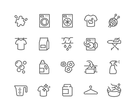 Simple Set of Laundry Related Vector Line Icons. Contains such Icons as Washing Machine, Dryer, Dirt T-shirt and more. Editable Stroke. 48x48 Pixel Perfect. Vectores