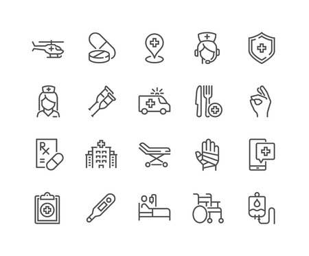 Einfacher Satz medizinischer Hilfe bezogener Vektorliniensymbole. Enthält Symbole wie Rollstuhl, spezielle Diät, Krankenhaussuche und mehr. Bearbeitbarer Strich. 48x48 Pixel perfekt. Vektorgrafik