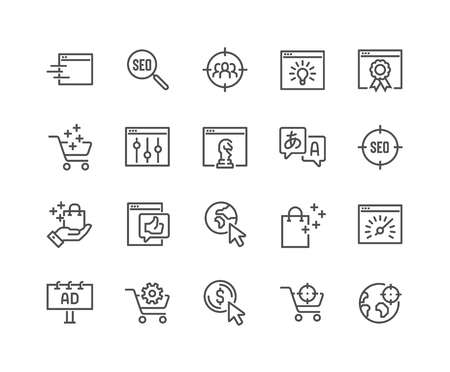 Einfacher Satz von SEO-bezogenen Vektorliniensymbolen. Enthält Symbole wie Zielgruppe, Umsatzsteigerung, Website-Performance und mehr. Bearbeitbarer Strich. 48x48 Pixel perfekt.